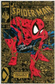 Spider-man #1 Gold Variant (1990) SignedJohn Romita Sr Marvel comic book